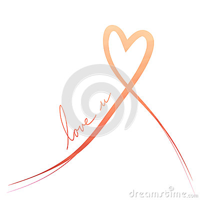 Free Orange Red Heart Ribbon Background Royalty Free Stock Photos - 49246618