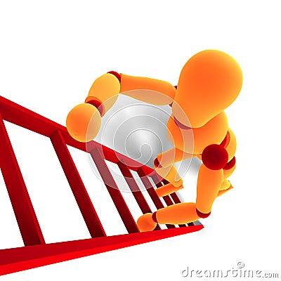 Orange / red  manikin climbing a ladder