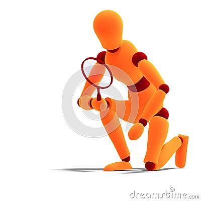 Orange / red  manikin looking through a magnifier