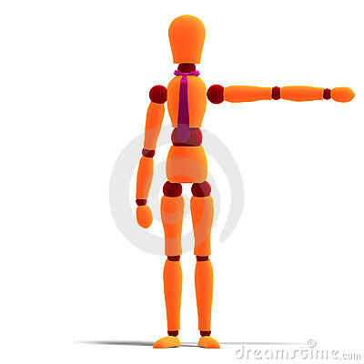 Orange and red manikin is pointing to something