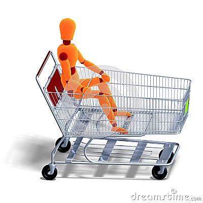 An orange red manikin sitting in a ahopping cart