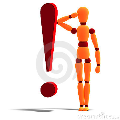 An orange red manikin standing behind an