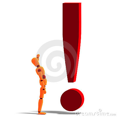 An orange red manikin standing by an exclamation