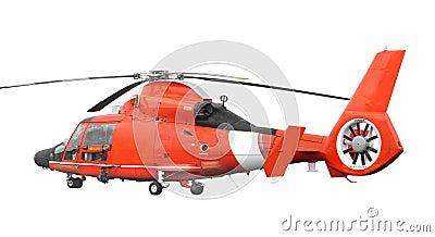 Orange rescue helicopter isolated.