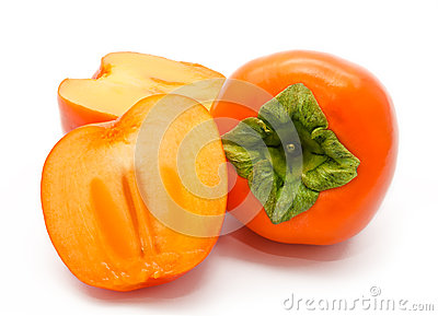 Orange ripe persimmon isolated on white