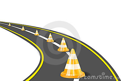 Orange Road Cones on Highway