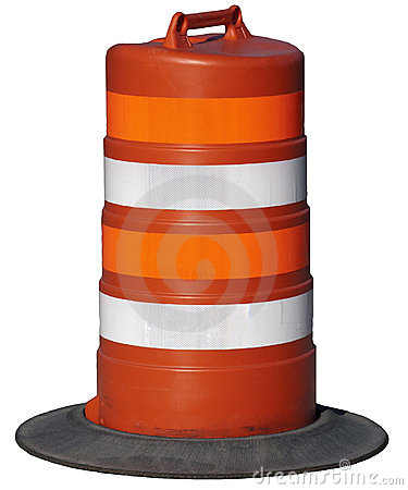 Orange Road Construction Barrel Isolated