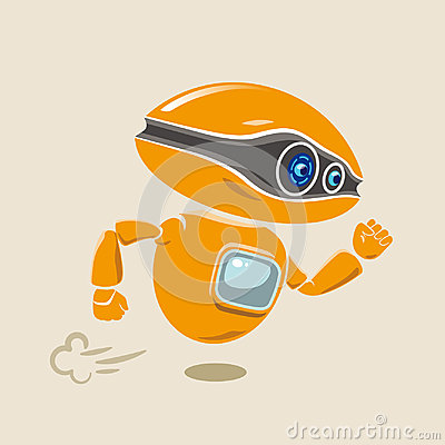 Free Orange Robot Flying Fast In A Hurry Royalty Free Stock Photos - 98338438
