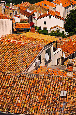 Free Orange Roof Tiles In Old Town Stock Photos - 19759003