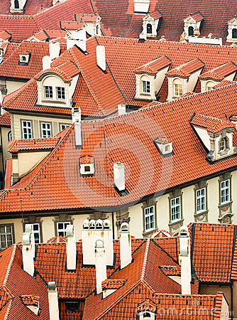 Orange roofs of Prague, Czech