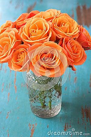 Orange Rose Flowers In Vase Royalty Free Stock Photo ...