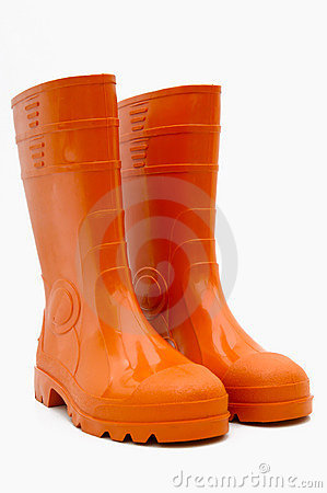 Free Orange Rubber Boots Isolated Royalty Free Stock Photography - 4173707