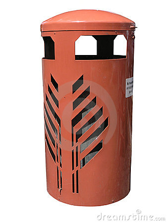 Orange Rubbish Bin