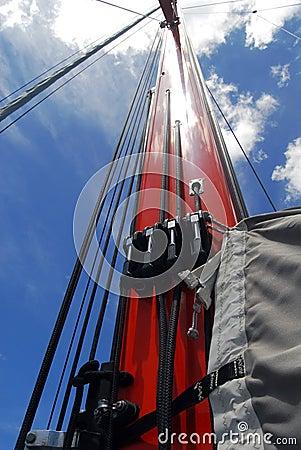 orange sailboat mast