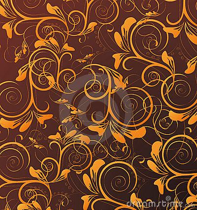 Orange seamless flower pattern in brown background