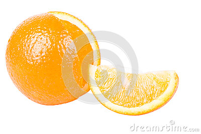 The orange with a segment isolated