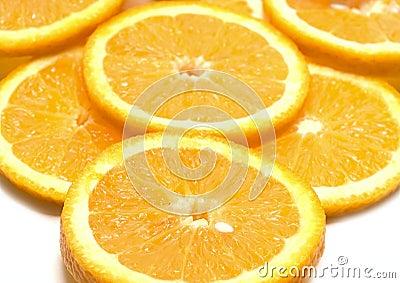 Orange segments isolated on white