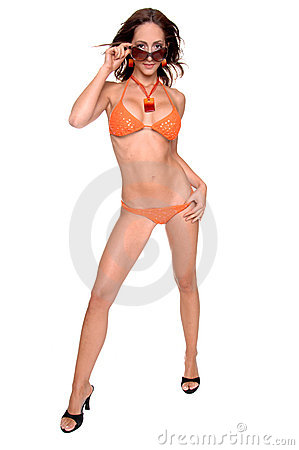 Orange Sequined Bikini