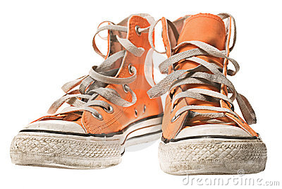 Orange shoe, isolated on white