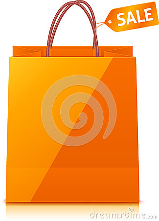 Orange Paper Shopping Bag On White Background Stock Photo - Image ...