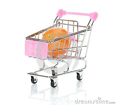 Orange in the shopping cart