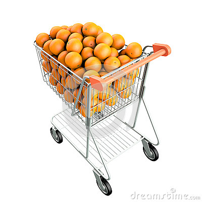Orange in a shopping cart