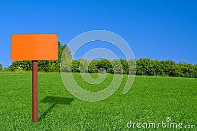 Orange sign post