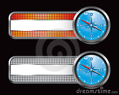 Orange and silver checkered tabs with blue compass