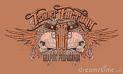 Orange Skulls T-Shirt Design