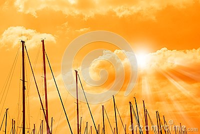 Orange sky on the dock