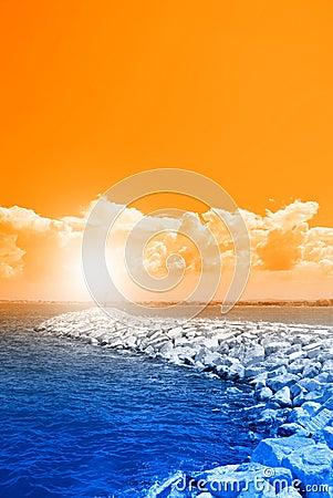 Orange sky over the rocks