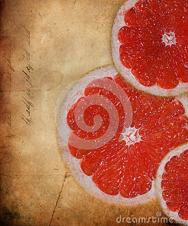 Orange slice with grunge  background