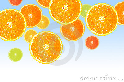 Orange slices on blue