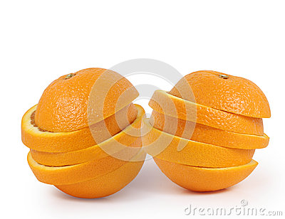Orange slices juice concept