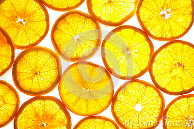 Orange slices pattern on white background