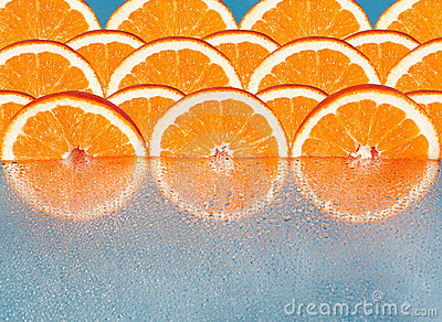 Orange slices  reflected,   background