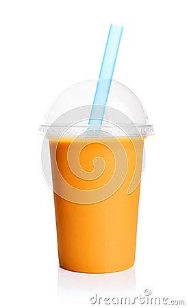 Free Orange Smoothie In Plastic Transparent Cup Stock Photo - 97453630
