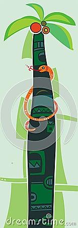 Free Orange Snake On Palm Tree Stock Photography - 3598922