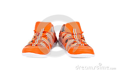 Orange sneakers isolated