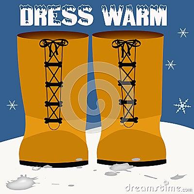 Orange snow boots