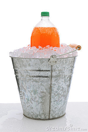 Orange Soda Bottle in Bucket of Ice