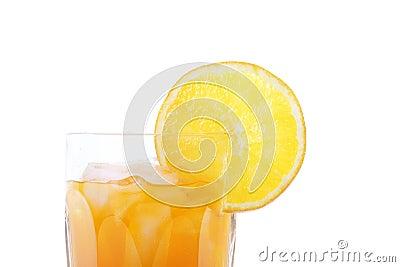 Orange Soda in Glass with Slice of Orange on Rim
