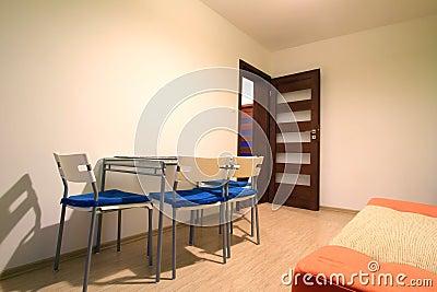 Orange sofa in modern apartment