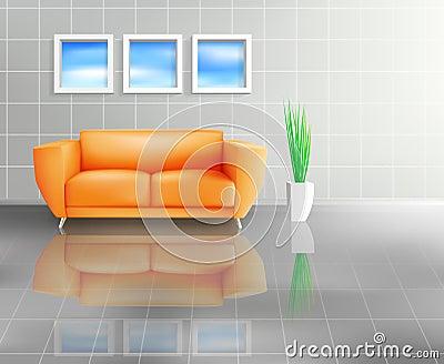 Orange Sofa In Tiled Living Space