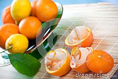 Orange Sorbet in Hollowed Fruits
