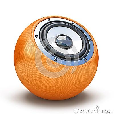 Orange sphere speaker