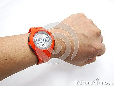 Orange Sports Watch With Hand
