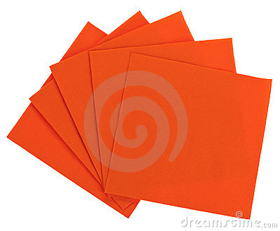 Orange square paper serviette (tissue)