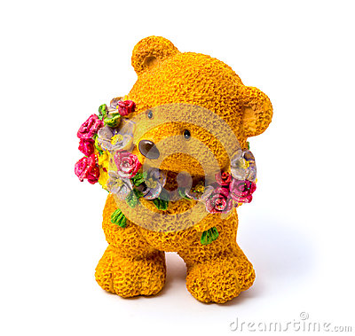 Free Orange Statuette Of A Bear With Flowers Isolated On A White Background Stock Images - 94657284