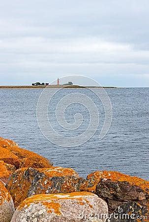 Orange stones on the coastline of Gotland, Sweden